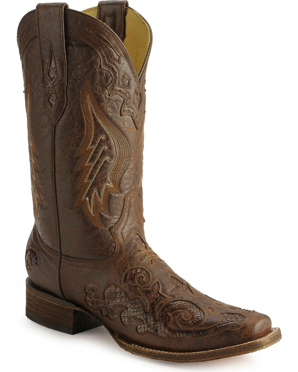 Corral Women's Square Toe Python Inlay Western Boots, Chocolate, hi-res