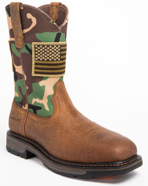 Ariat Men's WorkHog Patriot Work Boots - Steel Toe, Camouflage, hi-res