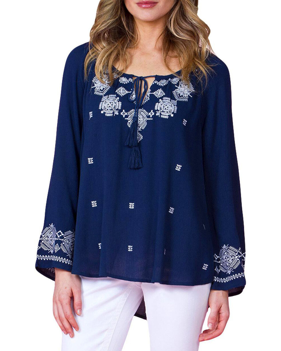 Miss Me Women's Embroidered Long Sleeve Peasant Top, Navy, hi-res