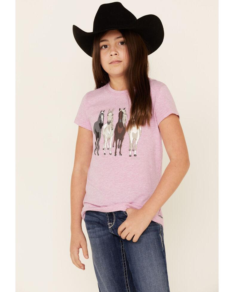 Ariat Girls' Violet Horses Graphic Short Sleeve Tee , Violet, hi-res