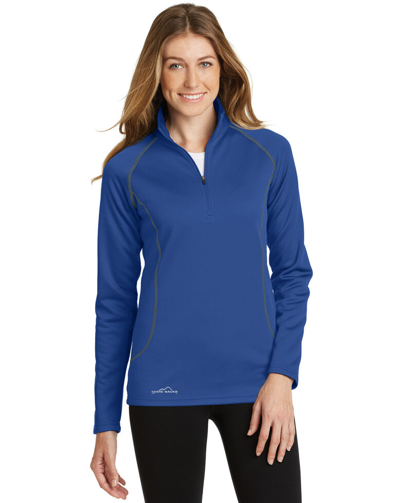 Eddie Bauer Women's Cobalt Blue 2X Smooth Fleece 1/2 Zip Base Layer - Plus, Blue, hi-res
