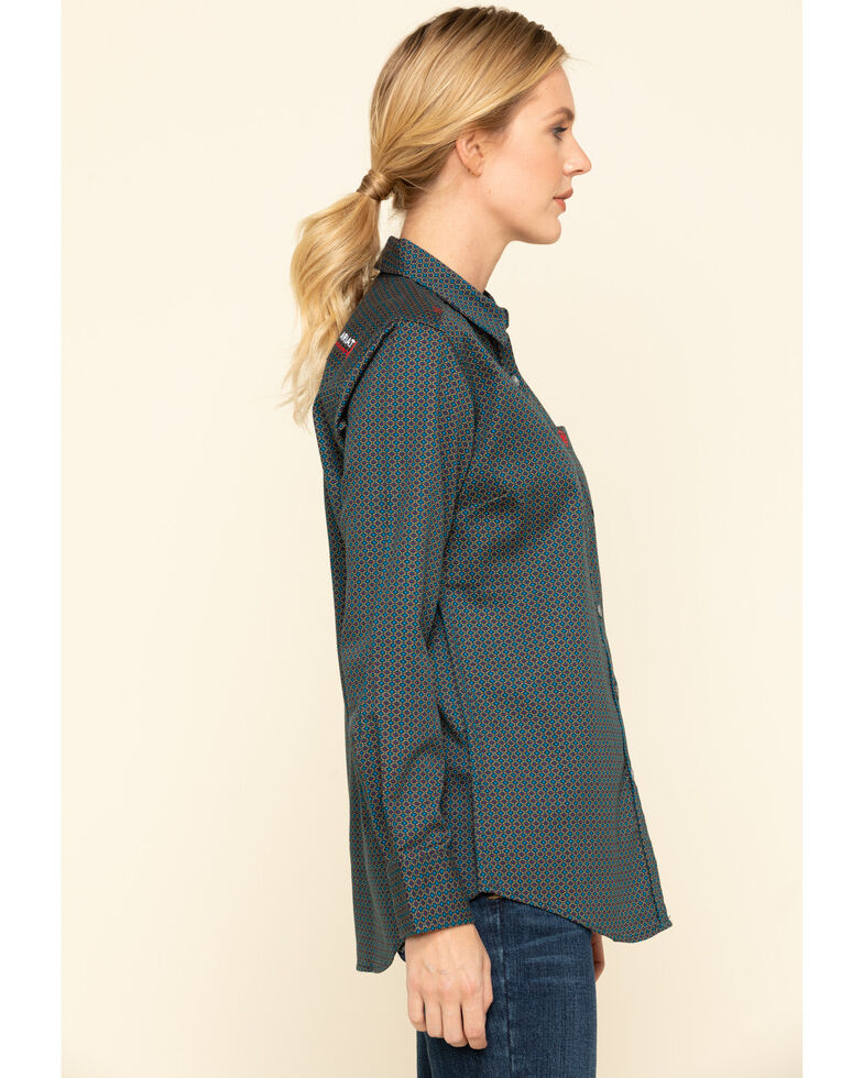 Ariat Women's FR Sierra Work Shirt , Blue, hi-res