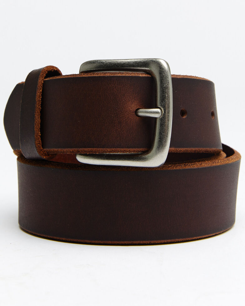 Hawx® Men's Beveled Edge Work Belt, Brown, hi-res