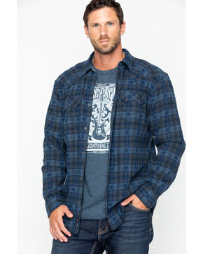 Moonshine Spirit Men's Crazy Horse Flannel Long Sleeve Western Shirt Jacket, Navy, hi-res