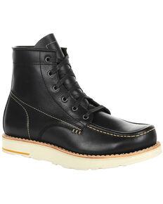 Georgia Boot Men's Small Batch Black Wedge Boots - Moc Toe, Black, hi-res