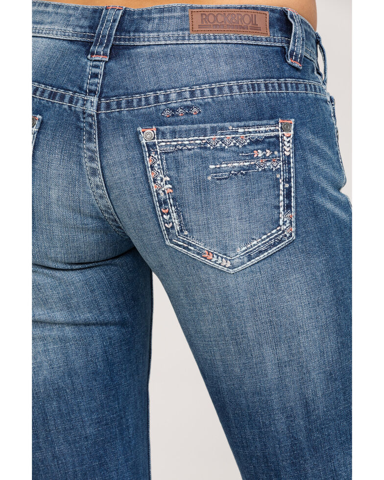 Rock & Roll Cowgirl Women's Scattered Embroidery Riding Bootcut Jeans, Blue, hi-res