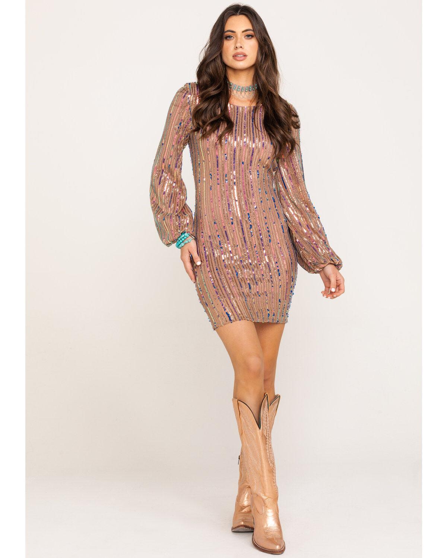 Rose Gold Sequin Dress | Boot Barn