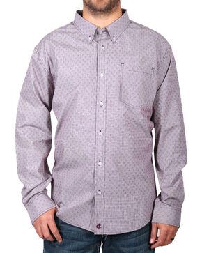 Cody James® Men's Pattern Long Sleeve Shirt , Burgundy, hi-res