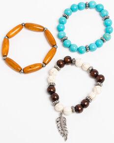 Shyanne Women's Bella Wood Bead 3 Pack Charm Bracelet Set, Turquoise, hi-res