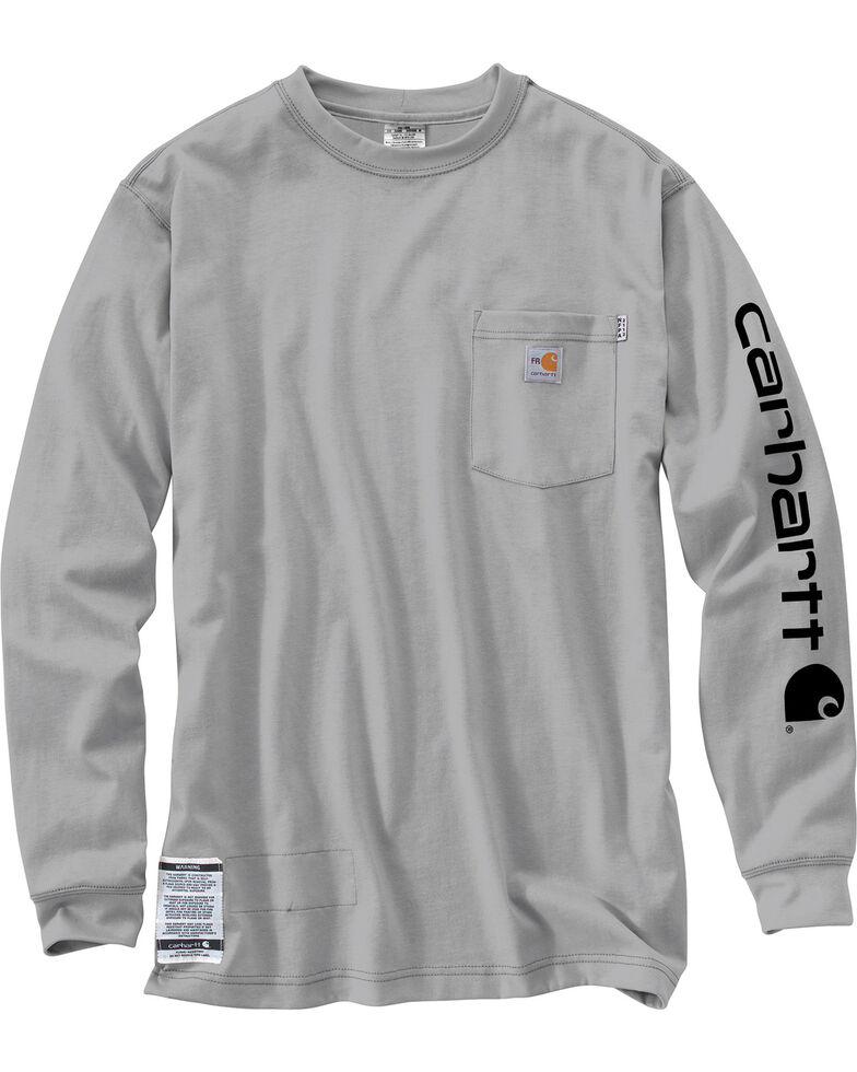 Carhartt Flame Resistant Force Cotton Graphic Long Sleeve Shirt, Grey, hi-res