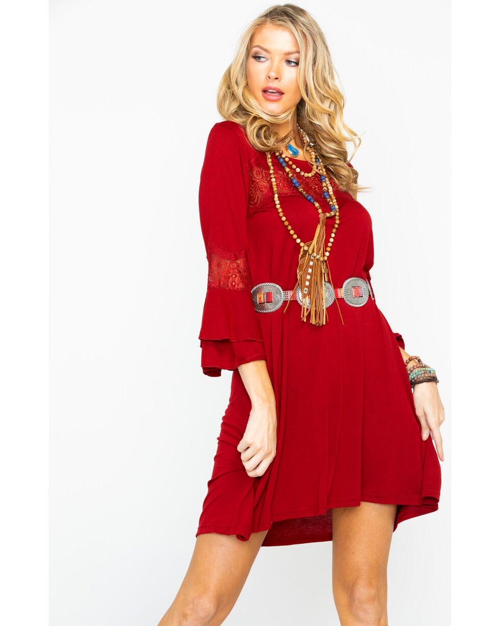 Wrangler Women's Solid Wine Lace Bell Sleeve Dress, Wine, hi-res