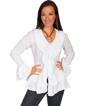 Scully Ruffle Front Long Sleeve Top, White, hi-res