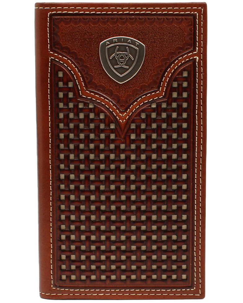 Ariat Men's Rodeo Shield Concho Western Wallet, Brown, hi-res