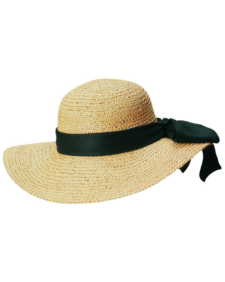 Scala Women's Natural Organic Raffia with Black Bow Sun Hat, Natural, hi-res