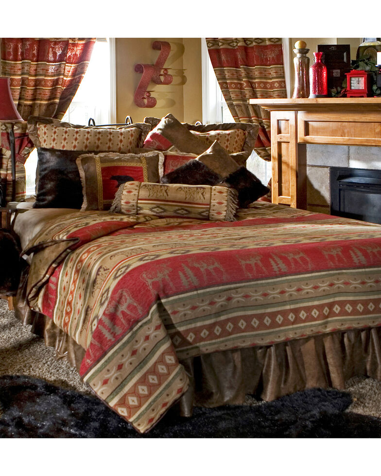 Carstens Adirondack Twin Bedding - 4 Piece Set, Red, hi-res