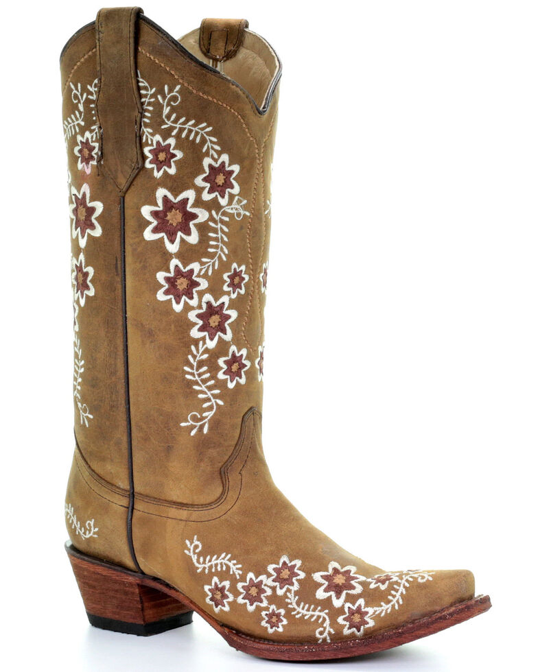 Circle G Women's Tan Floral Embroidery Western Boots - Snip Toe, Tan, hi-res