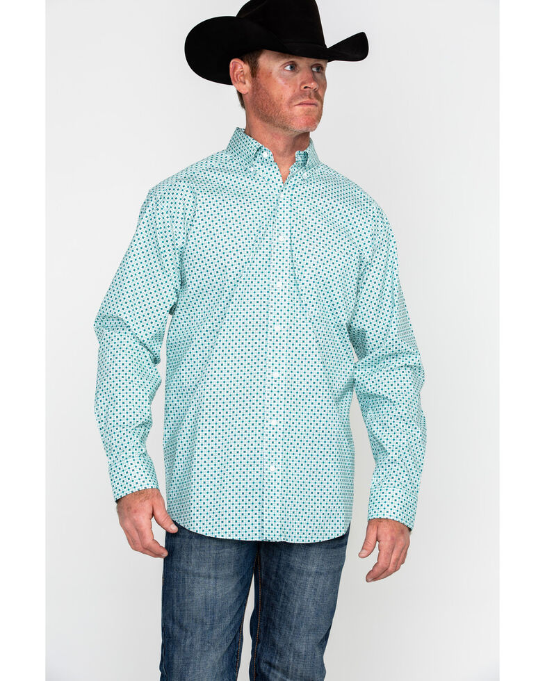 Tuf Cooper Men's Competition Stretch White Poplin Print Long Sleeve Western Shirt , , hi-res