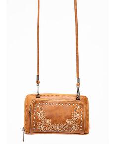 Shyanne Women's Floral Embroidery Strap Wallet, Cognac, hi-res