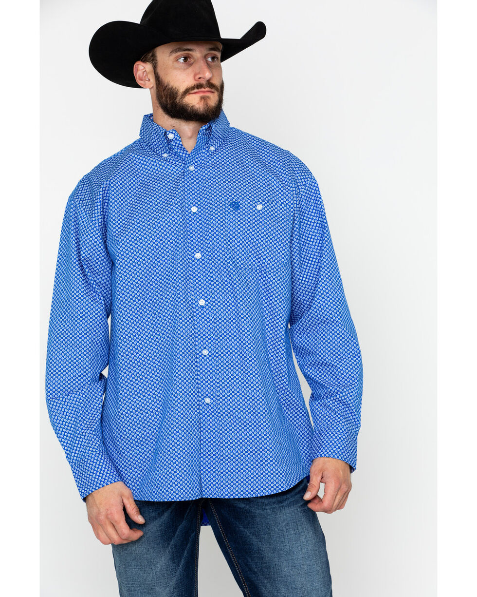 George Strait by Wrangler Men's Blue Paisley Geo Print Long Sleeve Western Shirt, Blue/white, hi-res