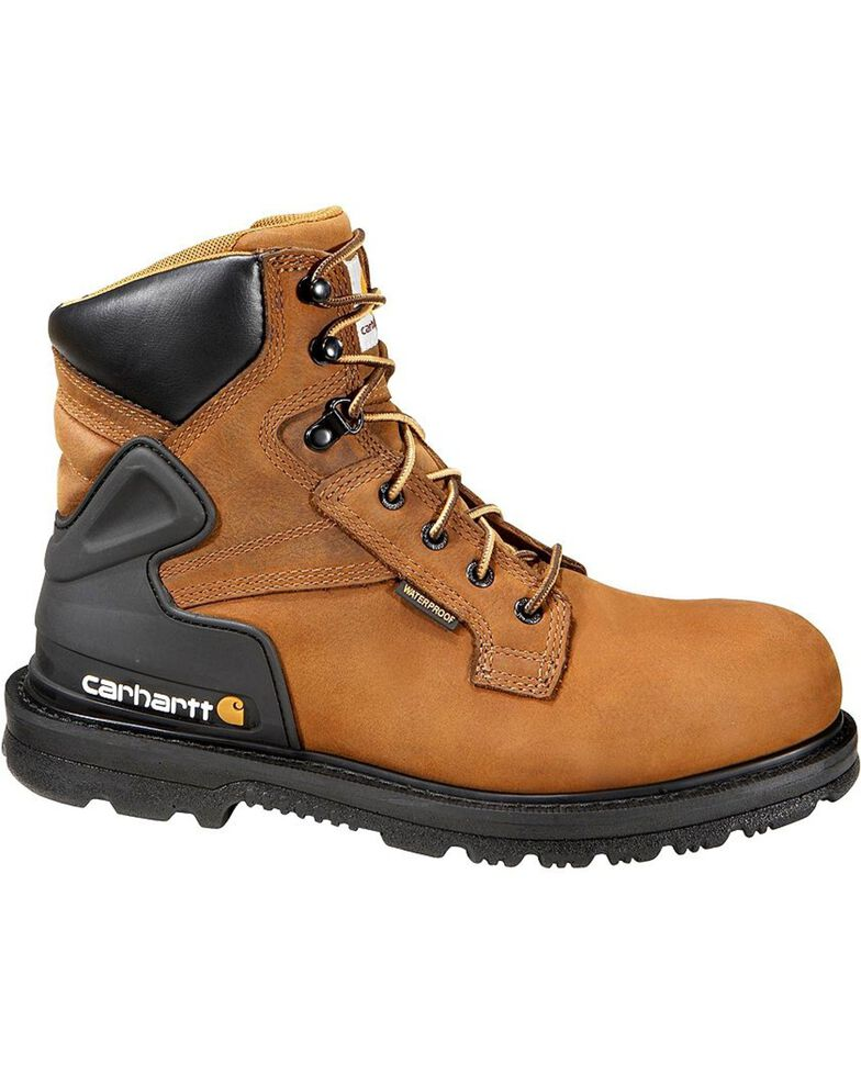 "Carhartt 6"" Waterproof Lace-Up Work Boots - Steel Toe, Bison, hi-res"