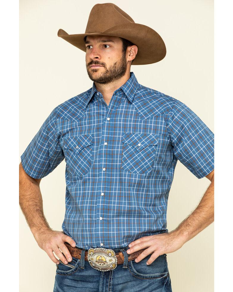 Ely Cattleman Men's Multi Windowpane Check Plaid Short Sleeve Western Shirt , Blue, hi-res