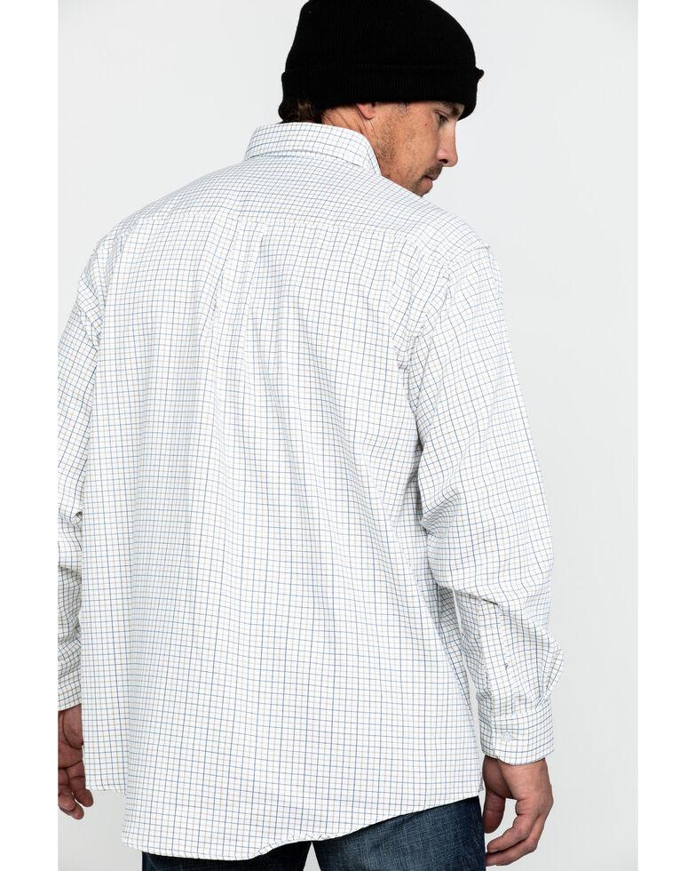 Wrangler 20X Men's FR Tattersall Small Check Print Long Sleeve Work Shirt , Blue, hi-res