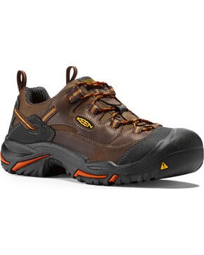 Keen Men's Braddock Low Soft Toe Shoes, Brown, hi-res