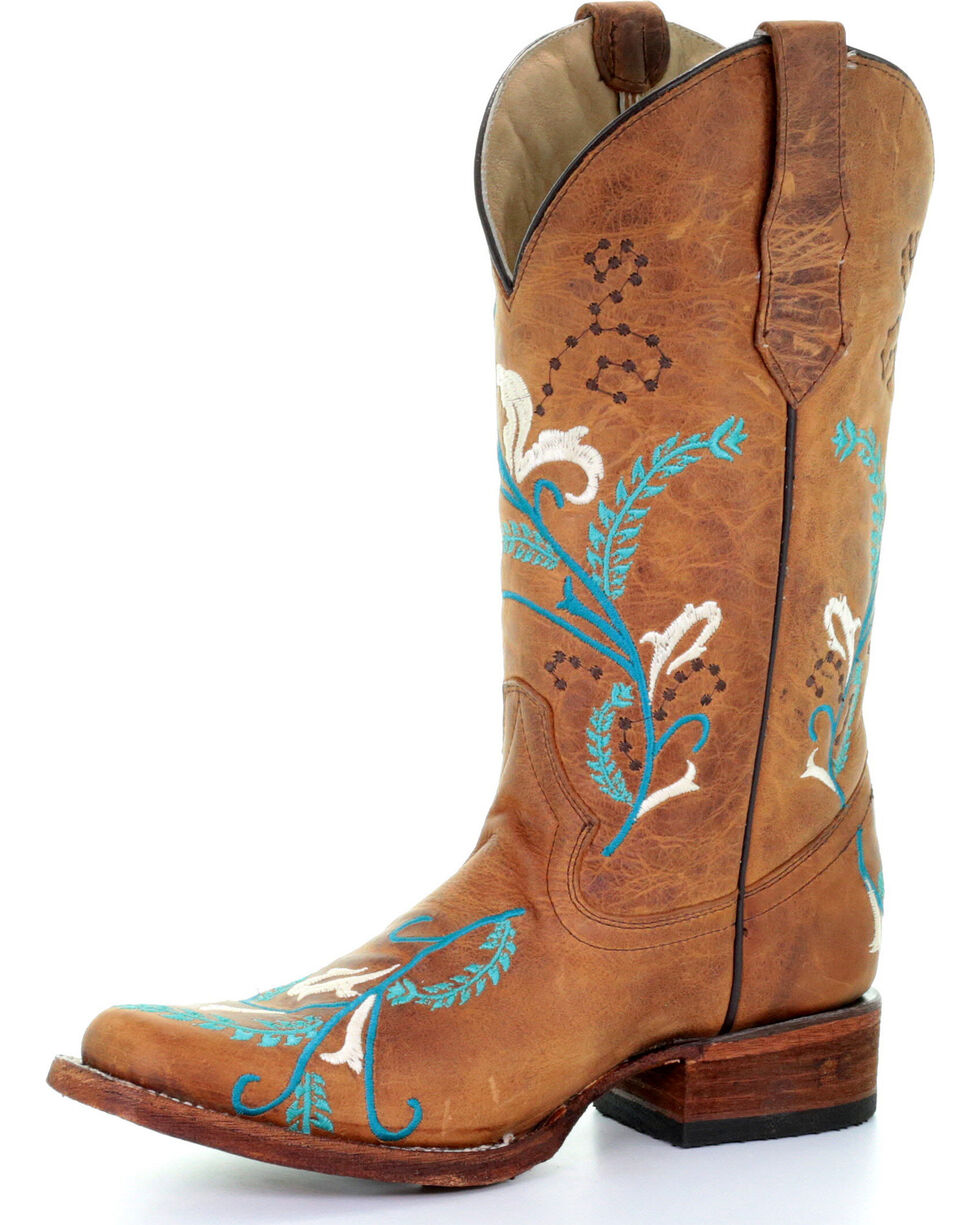 Circle G Women's Turquoise Embroidered Cowgirl Boots - Square Toe, Tan, hi-res