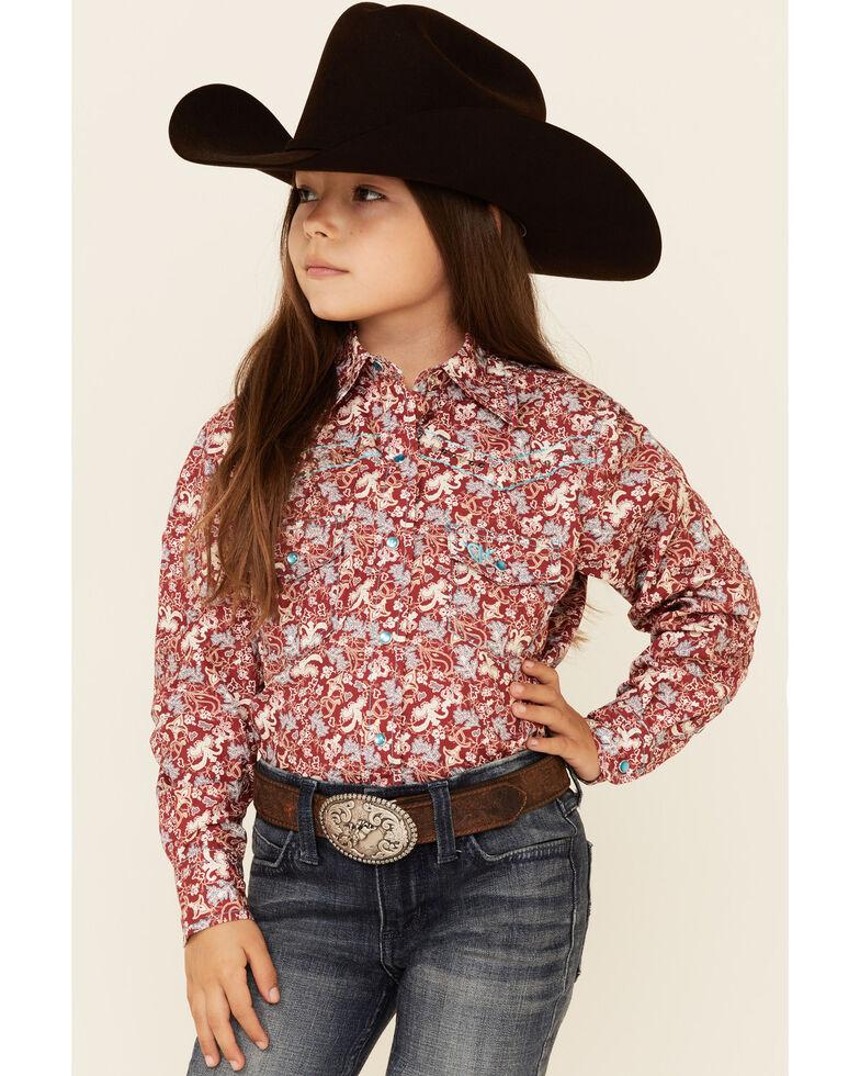 Cowgirl Hardware Girls' Burgundy Country Floral Print Long Sleeve Snap Western Shirt , Burgundy, hi-res