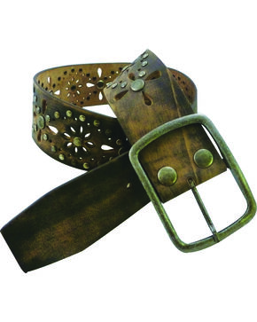 Roper Women's Brown Floral Cutouts Belt, Brown, hi-res