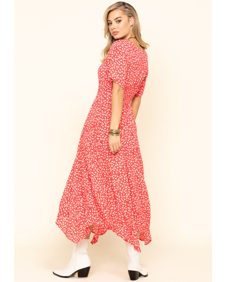 Free People Women's In Full Bloom Dress, Red, hi-res