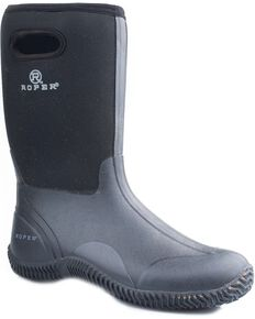 Roper Men's Neoprene Barnyard Work Boots, Black, hi-res