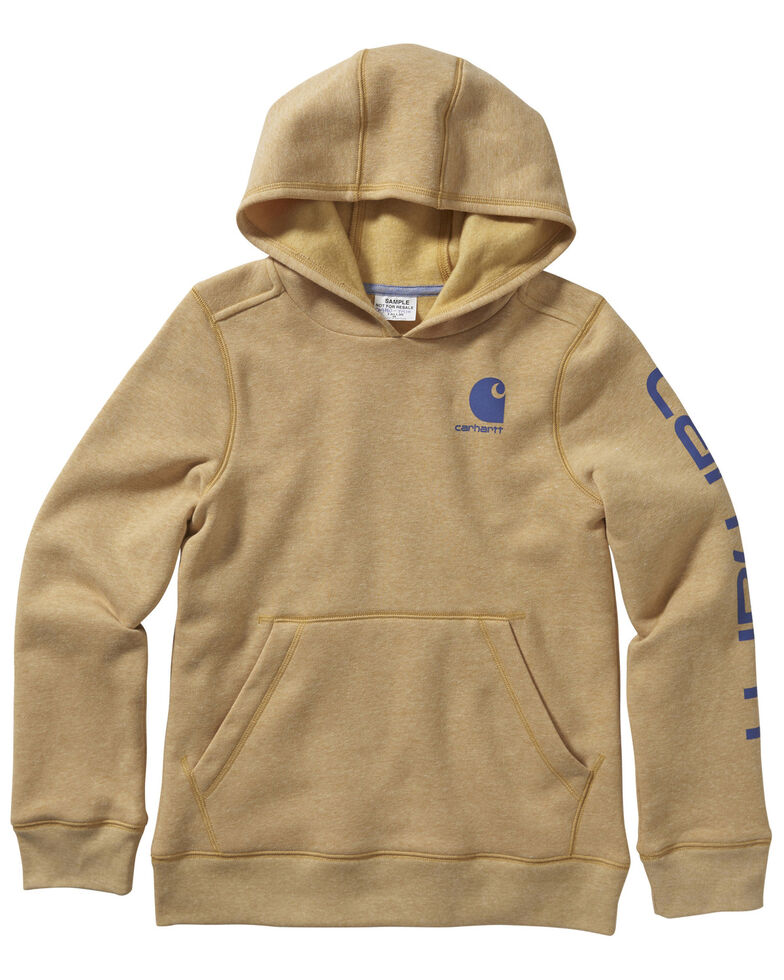 Carhartt Girls' Amber Gold Heather Logo Hooded Sweatshirt , Gold, hi-res