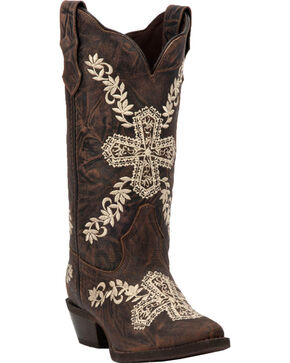 Laredo Women's Brown Cross My Heart Cowgirl Boots - Snip Toe , Brown, hi-res