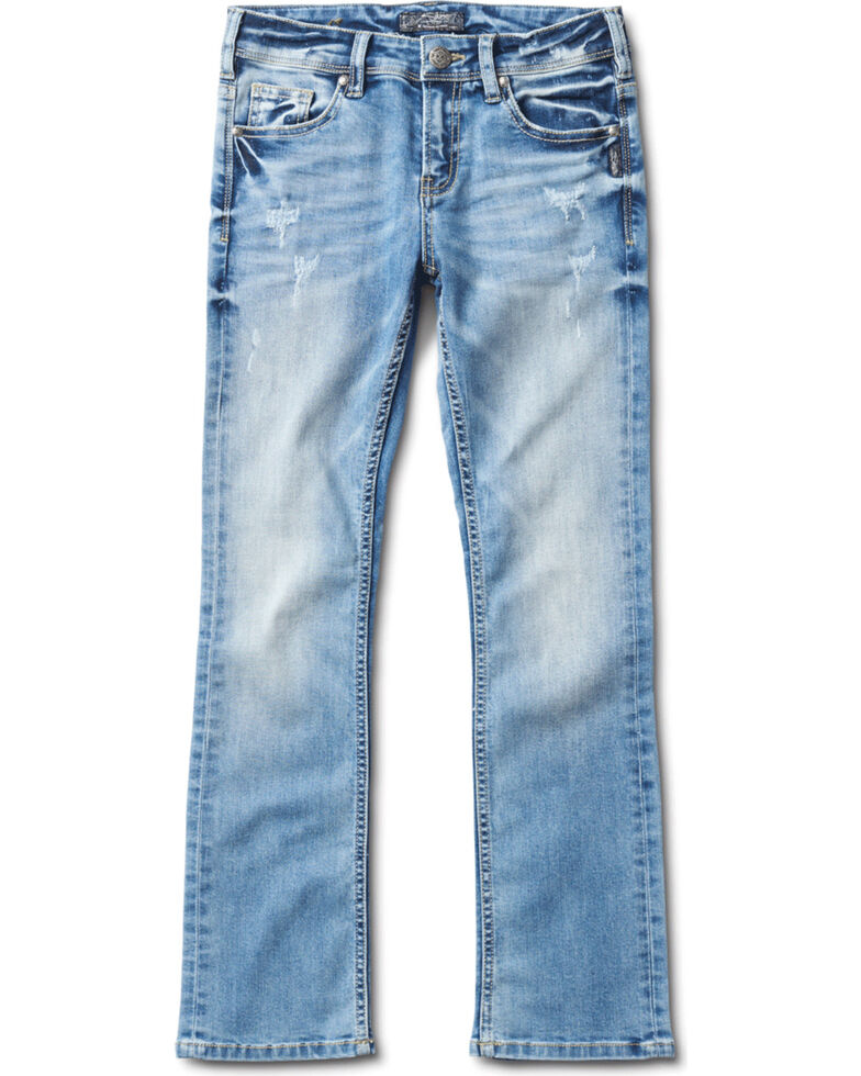 Silver Girls' Tammy Light Wash Bootcut Jeans, Indigo, hi-res