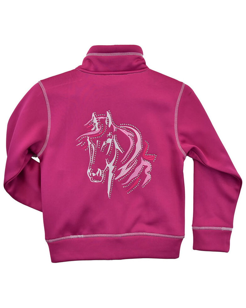 Cowgirl Hardware Girls' Hot Pink Bella Horse Zip-Front Jacket , Pink, hi-res
