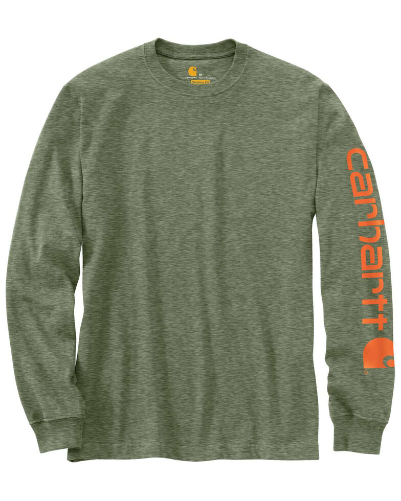 Carhartt Men's Signature Logo Sleeve Knit Work T-Shirt - Big & Tall, Olive, hi-res