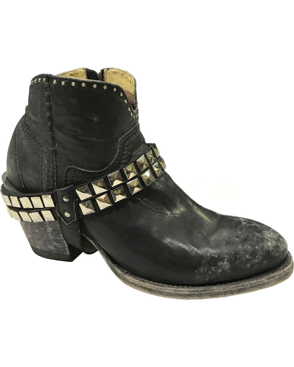 Corral Women's Studs and Harness Ankle Boot - Round Toe, Black, hi-res