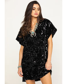 By Together Women's Black Short Sleeve Sequin Mini Dress, Black, hi-res