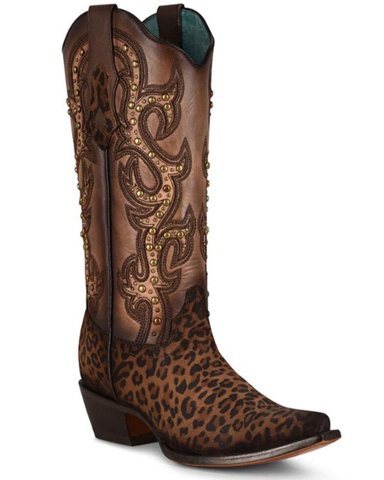 Corral Women's Sand Leopard Print & Studs Western Boots - Snip Toe, Leopard, hi-res