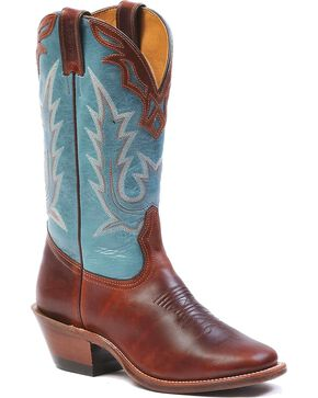 Boulet Women's Vintage Square Toe Western Boots, Brown, hi-res