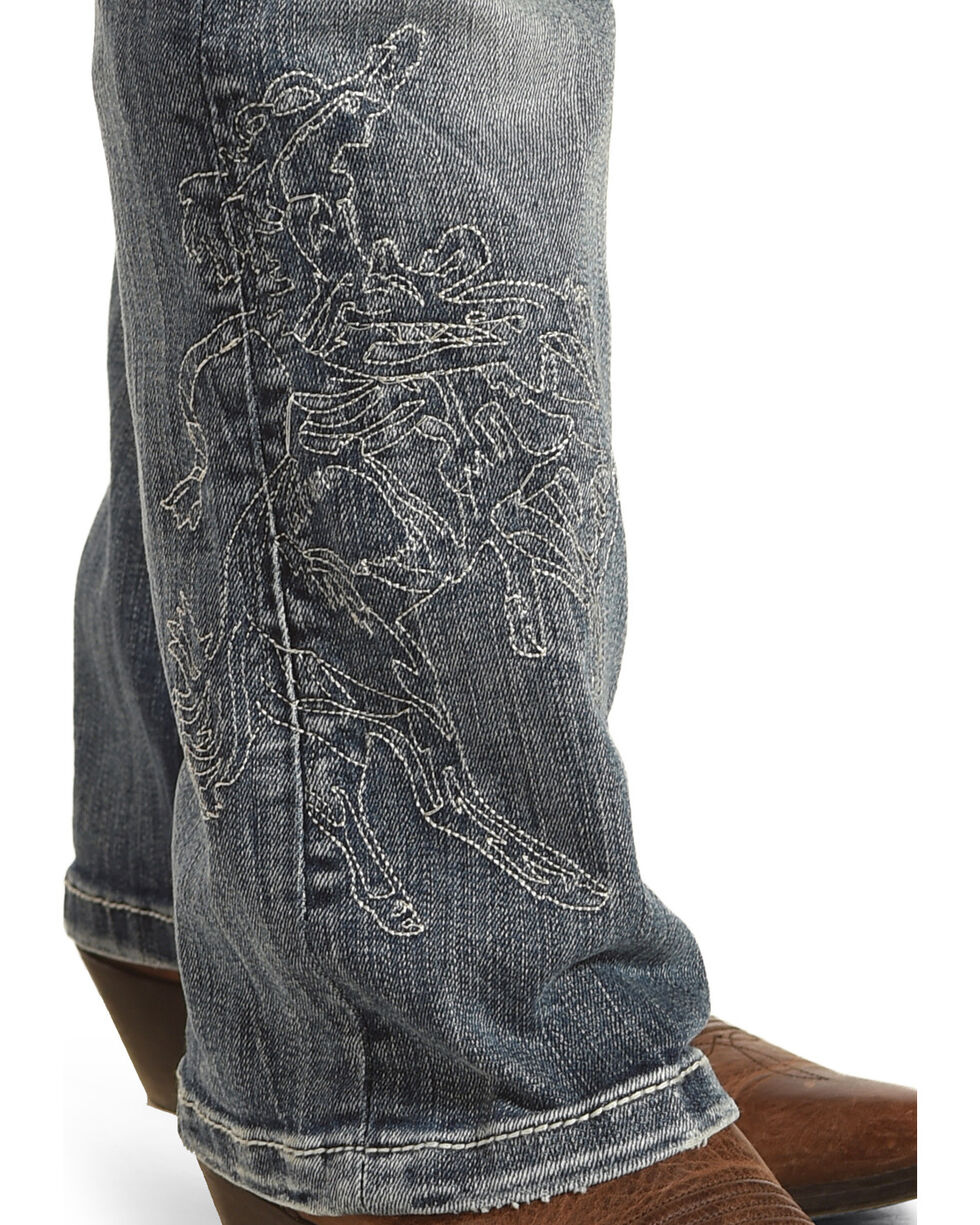 Cowgirl Tuff Women's Blue Buckin' Horse Jeans - Boot Cut , Blue, hi-res
