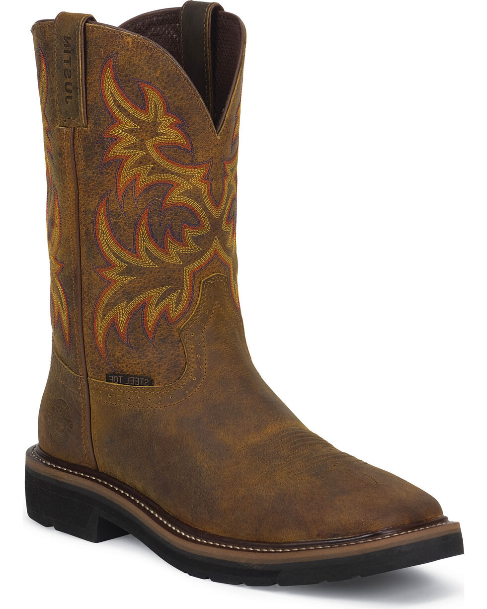 "Justin Women's Stampede 11"" Steel Toe Western Work Boots, Brown, hi-res"
