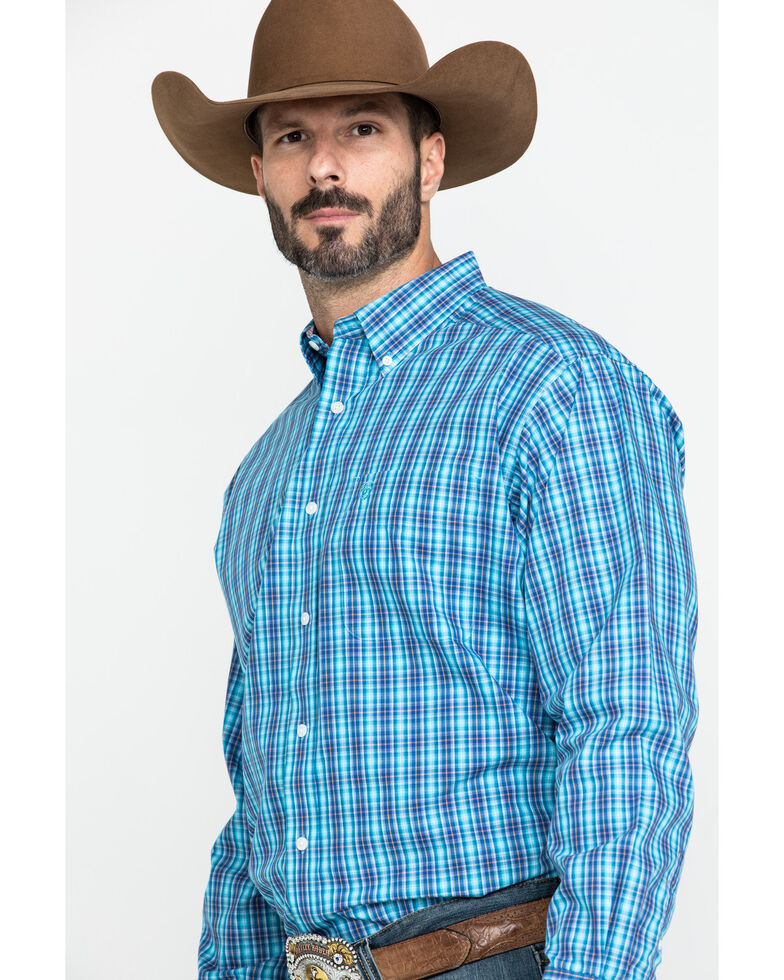 Ariat Men's Wrinkle Free Pelham Small Plaid Long Sleeve Western Shirt - Big , Multi, hi-res