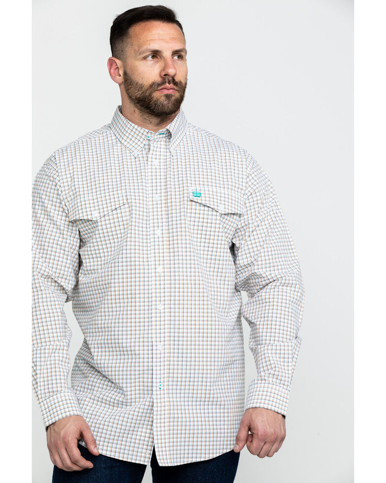 Cinch Men's White Check Plaid Long Sleeve Western Shirt , White, hi-res
