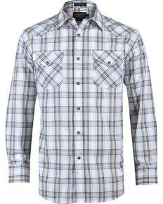 Pendleton Men's Plaid Long Sleeve Western Shirt, White, hi-res