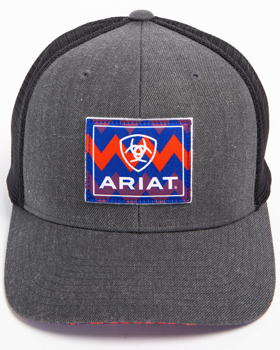 Ariat Men's Chevron Patch Trucker Cap, Grey, hi-res