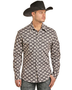 Rock & Roll Cowboy Men's FR Printed Aztec Twill Long Sleeve Work Shirt , Charcoal, hi-res