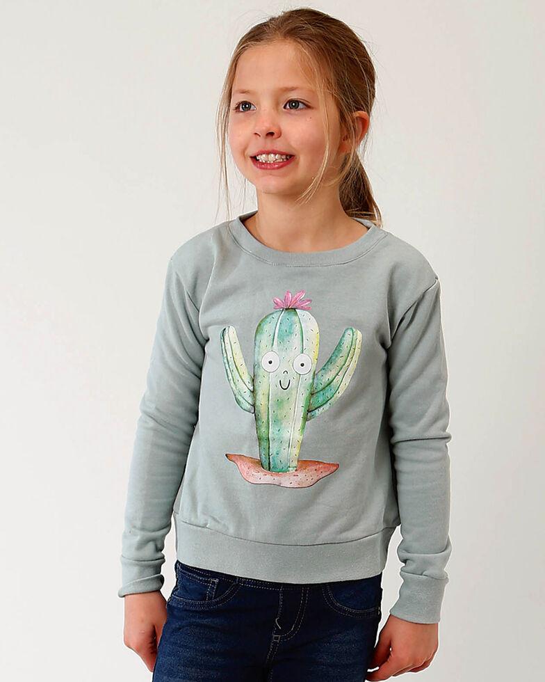 Roper Girls' Sage Cactus Graphic Sweatshirt , Sage, hi-res