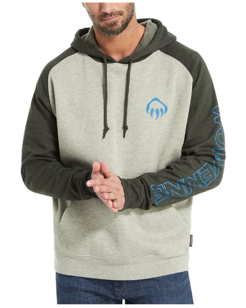Wolverine Men's Charcoal Raglan Logo Sleeve Hooded Work Sweatshirt , Grey, hi-res